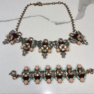 J. CREW Statement Necklace + Bracelet Set